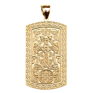 Armenian Cross (Khachkar) Yellow Gold Engraveable Dog Tag Pendant Necklace
