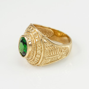 Solid Gold US Coast Guard CZ Birthstone Ring