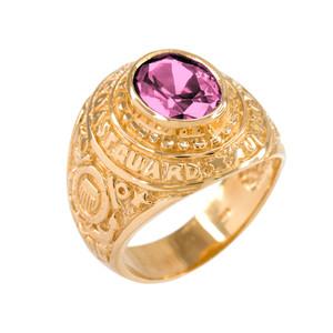 Solid Gold US Coast Guard CZ Birthstone Ring