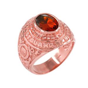 Solid Rose Gold US Coast Guard CZ Birthstone Ring