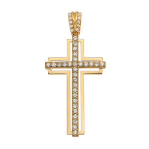 Yellow Gold 2 Carat Cubic Zirconia Cross Pendant