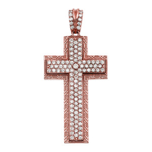 Rose Gold 4.5 Carat Cubic Zirconia Cross Pendant
