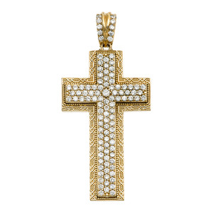 Yellow Gold 4.5 Carat Cubic Zirconia Cross Pendant