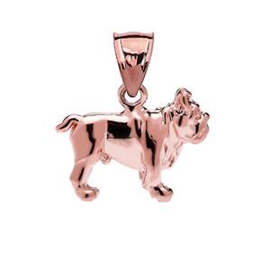 Bulldog Pendant Necklace in Rose Gold