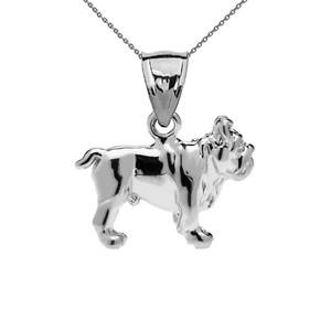 Bulldog Pendant Necklace in White Gold
