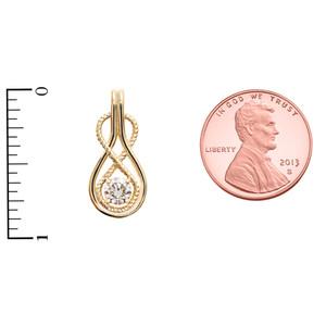 Diamond Infinity Rope Yellow Gold Pendant Necklace