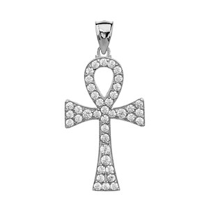 1.5 Carat Cubic Zirconia White Gold Ankh Cross Pendant Necklace