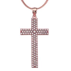 3 Carat Cubic Zirconia Rose Gold Cross Pendant Necklace