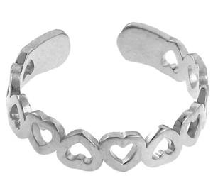 Heart White Gold Toe Ring