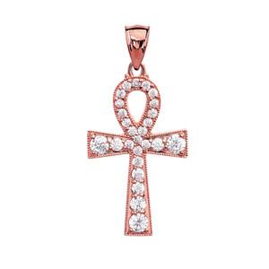 Ankh Cross Diamond Rose Gold Pendant Necklace