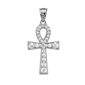 Ankh Cross Diamond White Gold Pendant Necklace