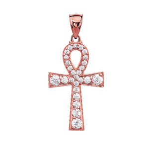 Ankh Cross Cubic Zirconia Rose Gold Pendant Necklace