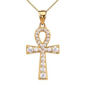 Ankh Cross Cubic Zirconia Yellow Gold Pendant Necklace