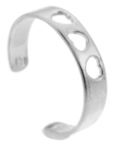 Three Heart Silver Toe Ring