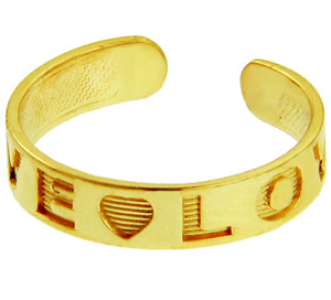 """LOVE"" Yellow Gold Toe Rings"