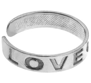 """LOVE"" Silver Toe Ring"