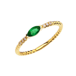 Diamond and Lab Created Emerald Marquise Solitaire Beaded Band Proposal/Stackable Yellow Gold Ring