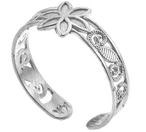 Floral Silver Toe Ring