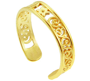 Yellow Gold Floral Toe Ring