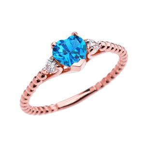 Blue Topaz Solitaire Heart And White Topaz Rose Gold Beaded Band Promise Ring