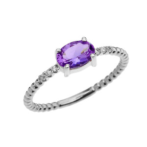 Diamond Beaded Band Ring With Amethyst Centerstone in White Gold