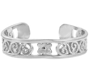 Silver Floral Toe Ring