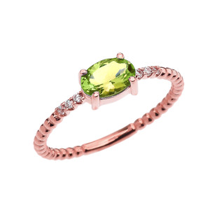Diamond Beaded Band Ring With Peridot Centerstone in Rose Gold