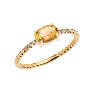 Diamond Beaded Band Ring With Citrine Centerstone in Yellow Gold