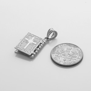 Sterling Silver 3D Spanish Bible Pendant Necklace