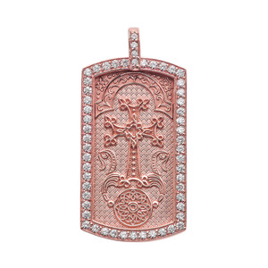 "Armenian Cross ""Khachkar"" Diamond Rose Gold Dog Tag Pendant Necklace"
