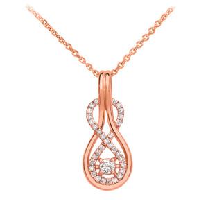 14k Diamond Infinity Rose Gold Pendant Necklace