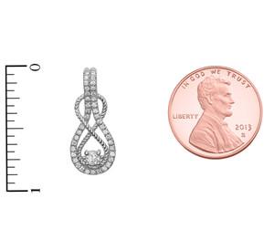 14k Rope Infinity Diamond White Gold Pendant Necklace