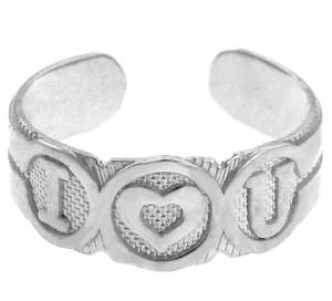 "Silver ""I Heart U"" Toe Ring"