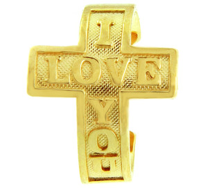 "Yellow Gold ""I Love You"" Cross Toe Ring"
