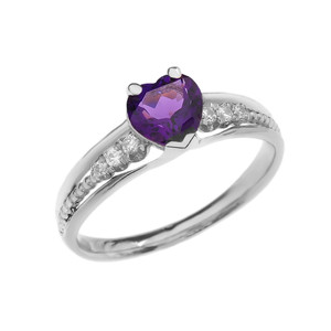 Diamond And Amethyst Heart White Gold Beaded Proposal Ring