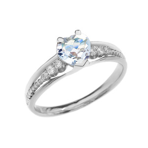 Diamond And Aquamarine Heart White Gold Beaded Proposal Ring