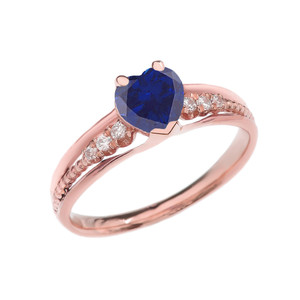 Diamond And (LCS)September Birthstone Sapphire Heart Rose Gold Beaded Proposal Ring
