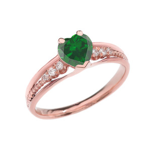 Diamond And May Birthstone (LCE) Emerald Heart Rose Gold Beaded Proposal Ring