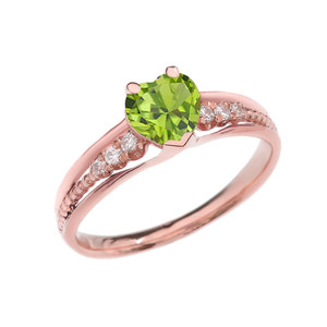 Diamond And Peridot Heart Rose Gold Beaded Proposal Ring