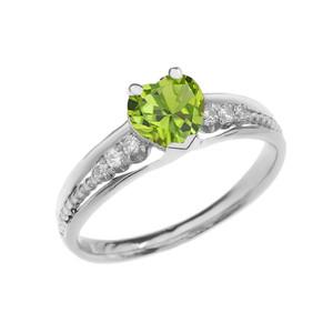 Diamond And Peridot Heart White Gold Beaded Proposal Ring