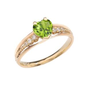 Diamond And Peridot Heart Yellow Gold Beaded Proposal Ring