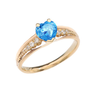Diamond And Blue Topaz Heart Yellow Gold Beaded Proposal Ring