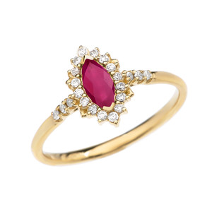 Diamond and Marquise Ruby Yellow Gold Proposal Engagement Ring