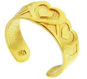 Bold Heart Yellow Gold Toe Ring