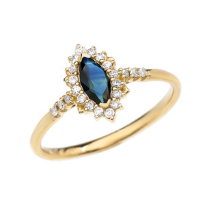 Diamond and Marquise Sapphire Yellow Gold Proposal Engagement Ring