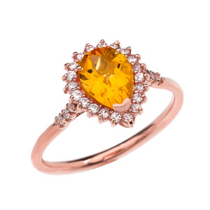 Diamond and Pear Shape Checkerboard Citrine Rose Gold Proposal Engagement Ring