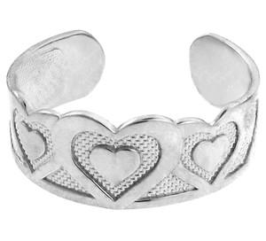 Bold White Gold Heart Toe Ring
