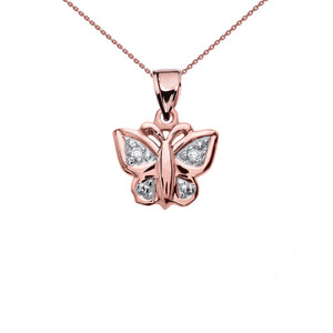 Diamond Butterfly Rose Gold Charm Pendant Necklace