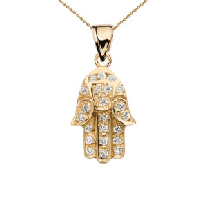 Diamond Hamsa Hand Yellow Gold Charm Pendant Necklace
