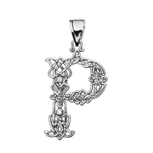 """""""P"""" Initial In Celtic Knot Pattern White Gold Pendant Necklace With Diamond"""